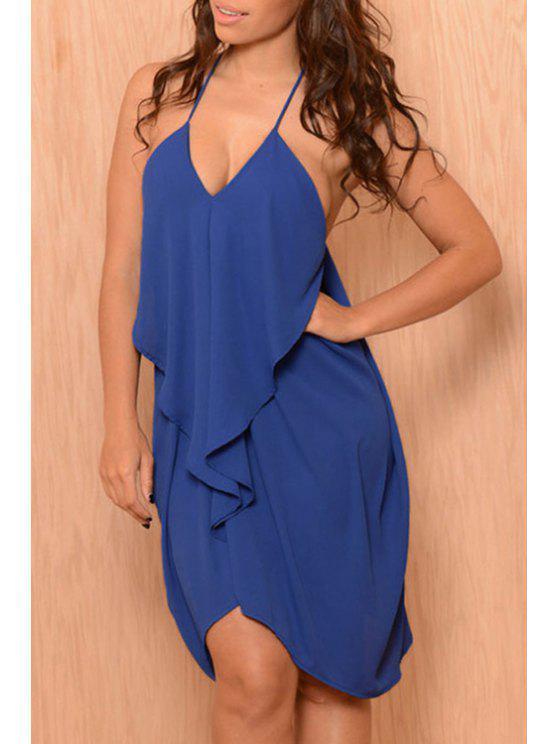 sale Spaghetti Strap Flouncing Chiffon Dress - BLUE ONE SIZE(FIT SIZE XS TO M)