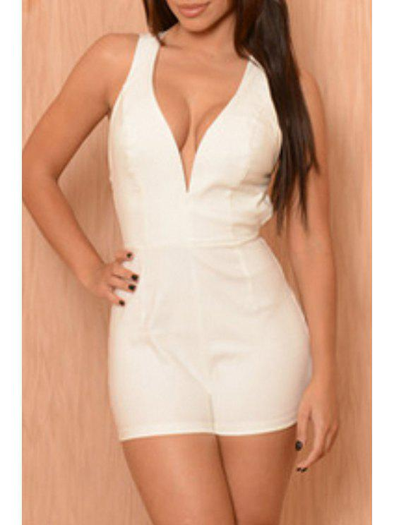 trendy Plunging Neck Crisscross Back Romper - WHITE M