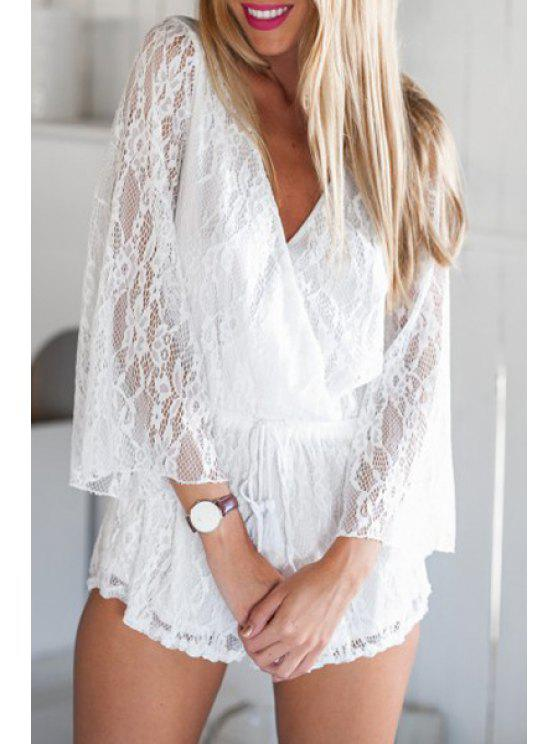 fancy Full Lace Plunging Neck Long Sleeve Playsuit - WHITE S