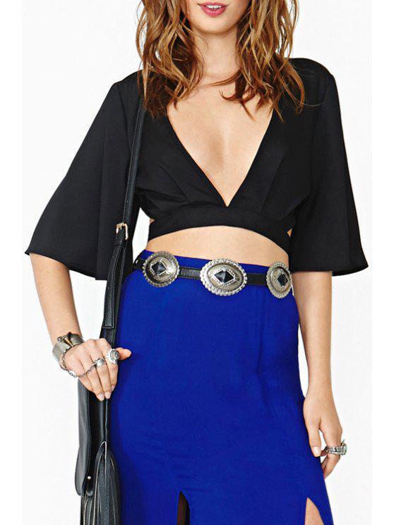 affordable Black Backless Half Sleeve Crop Top - BLACK S