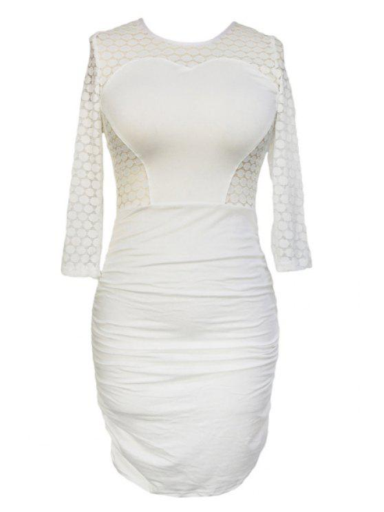 new 3/4 Sleeve Hollow Out Ruched Bodycon Dress - WHITE ONE SIZE(FIT SIZE XS TO M)