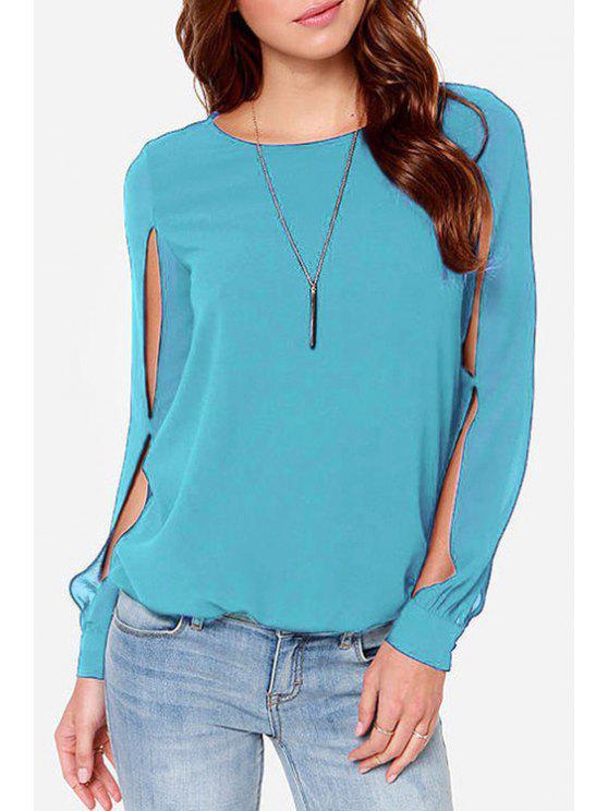 new Jewel Neck Solid Color Slit Long Sleeve Shirt - AZURE 2XL