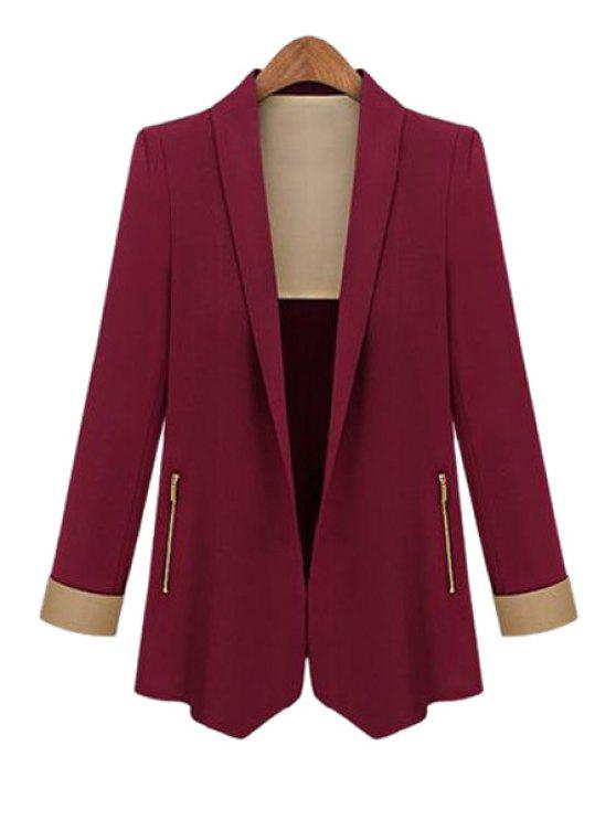 best Color Block Shawl Collar Long Sleeve Blazer - WINE RED S