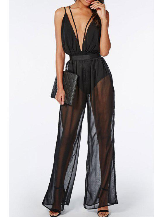 women's Plunging Neck See-Through Wide Leg Jumpsuit - BLACK ONE SIZE(FIT SIZE XS TO M)