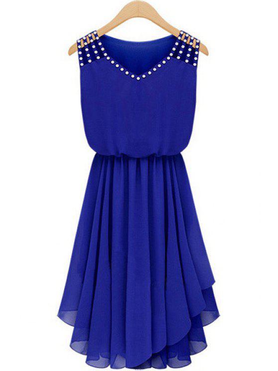 trendy Diamante V Neck Sleeveless Chiffon Dress - SAPPHIRE BLUE S