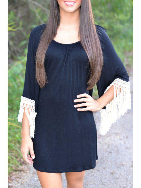latest White Tassel Splicing 3/4 Sleeve Dress - BLACK S