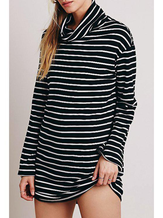 online Turtle Neck White Black Stripe Long Sleeve Dress - WHITE AND BLACK S