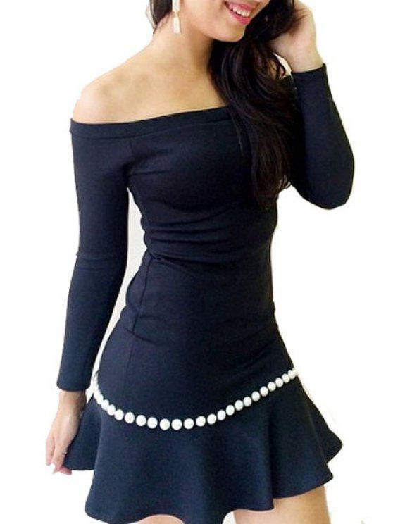 new Off The Shoulder Beaded Long Sleeve Dress - BLACK S