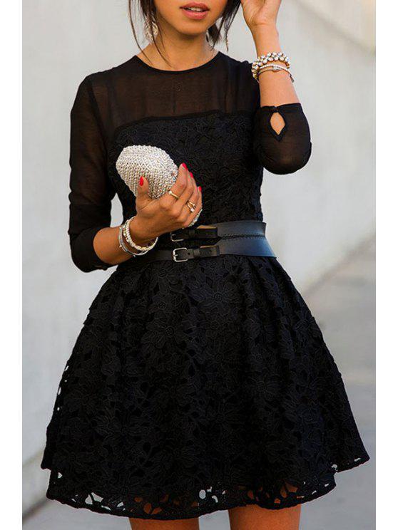 trendy Black Lace Splicing Long Sleeve Dress - BLACK XL