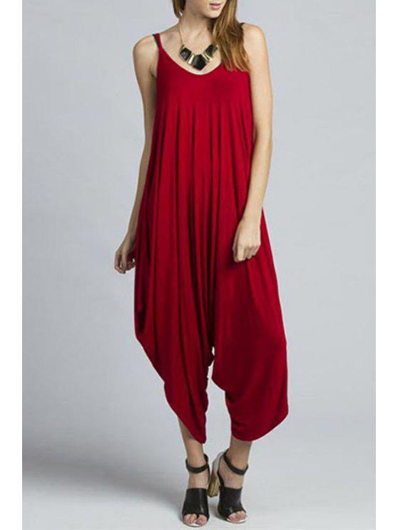 buy Solid Color Cami Loose Jumpsuit - RED M