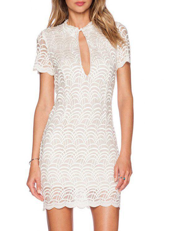 hot Keyhole Neckline Lace Spliced Bodycon Dress - WHITE M