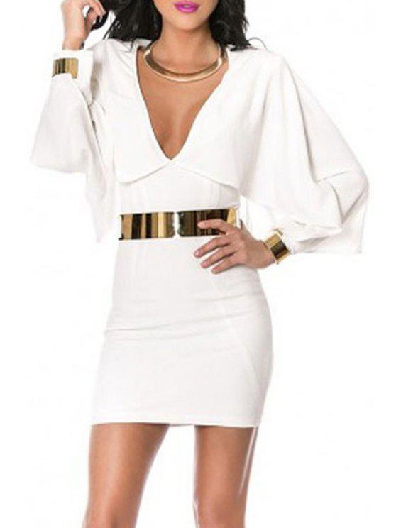 latest Long Batwing Sleeve White Bodycon Dress - WHITE M