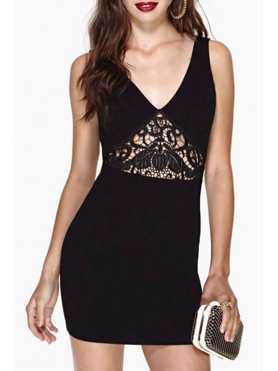 chic Lace Spliced Sleeveless Black Bodycon Dress - BLACK M
