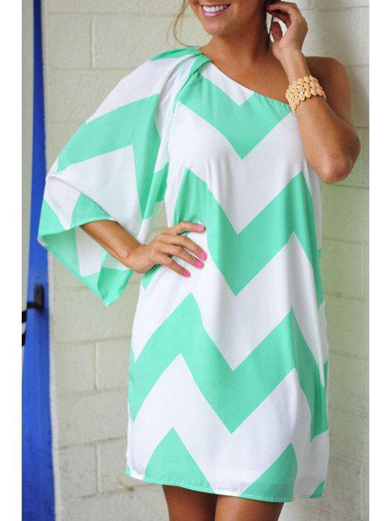 lady One Shoulder Zig Zag 3/4 Sleeve Dress - LIGHT GREEN XL