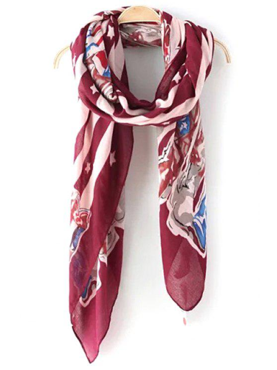 shop Stars Stripes Boots Scrawl Pattern Scarf - RED