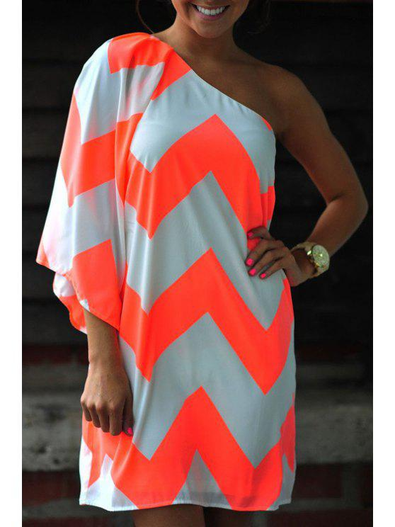 best One Shoulder Stripe 3/4 Sleeve Dress - FLUORESCENT YELLOW S