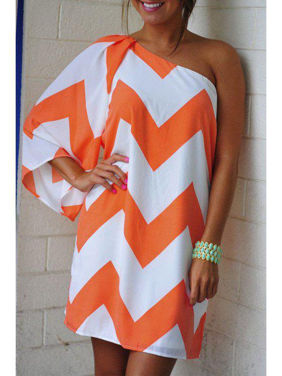 outfit One Shoulder Color Block Stripe 3/4 Sleeve Dress - ORANGE S
