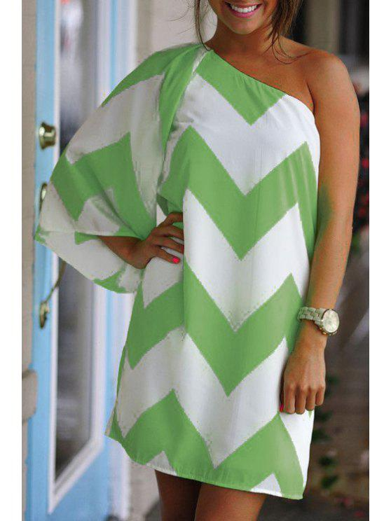fancy One Shoulder Stripe Color Block 3/4 Sleeve Dress - WHITE AND GREEN M