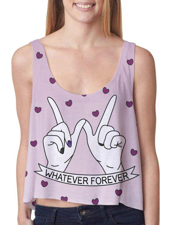 trendy Hand Print High Low Tank Top - PURPLE ONE SIZE(FIT SIZE XS TO M)