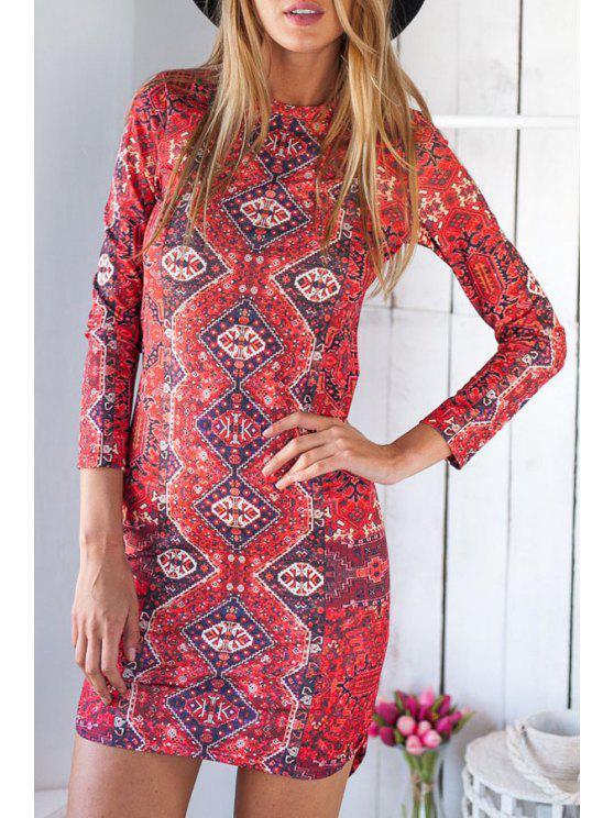 latest Ethnic Print Irregular Hem Bodycon Dress - RED L