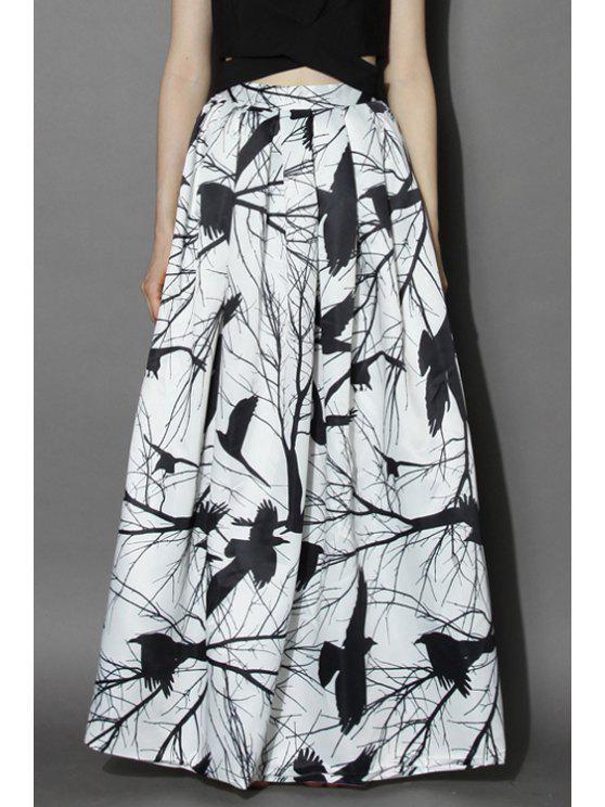 women's White Black Birds Print Skirt - WHITE AND BLACK S