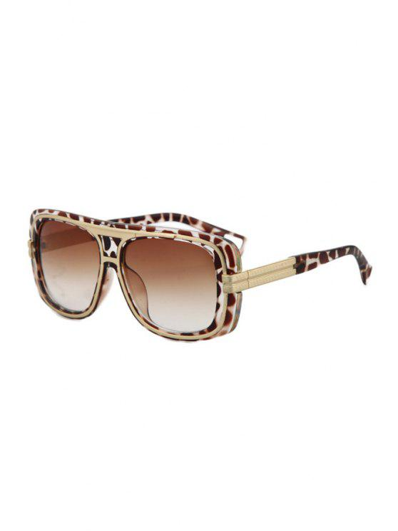 affordable Metal Inlay Leopard Frame Sunglasses - DEEP BROWN
