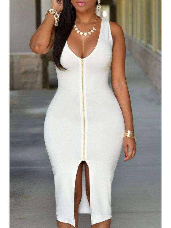chic Solid Color Slit Sleeveless Bodycon Dress - WHITE ONE SIZE(FIT SIZE XS TO M)