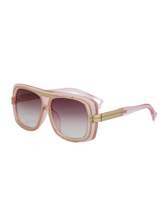buy Metal Inlay Transparent Frame Sunglasses - PINK