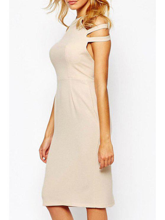 outfits Solid Color Halter Sleeveless Midi Dress - APRICOT ONE SIZE(FIT SIZE XS TO M)