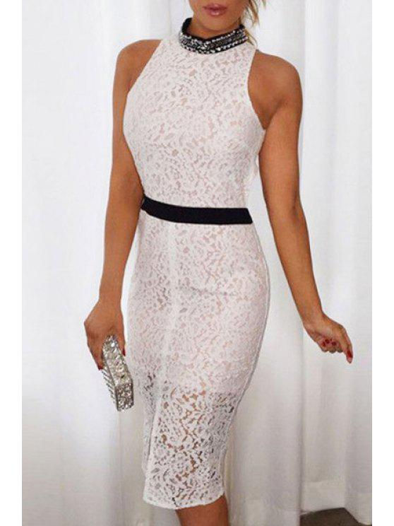womens Lace Stand Neck Sleeveless Bodycon Dress - WHITE ONE SIZE(FIT SIZE XS TO M)