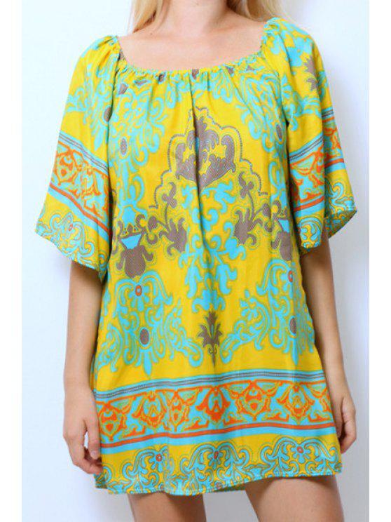 shop Slash Neck Color Block Printed Half Sleeve Dress - COLORMIX S