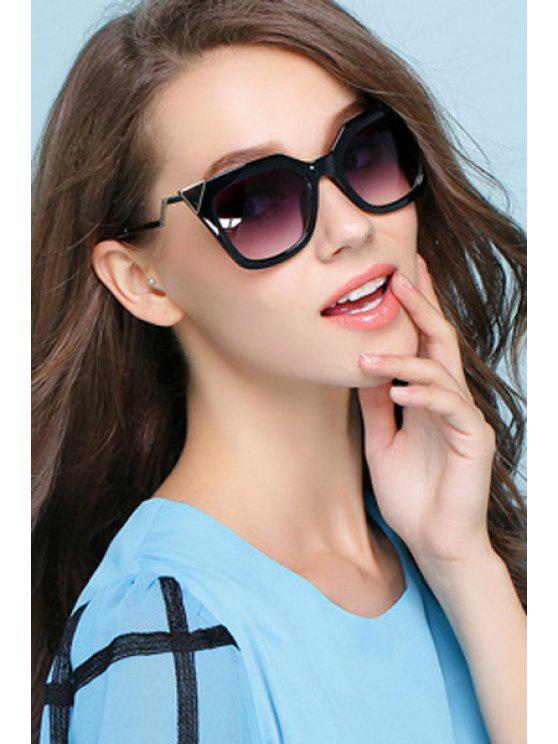 women's Alloy Inlay Cat Eye Shape Frame Sunglasses - BLACK