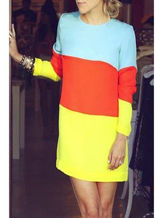 buy Jewel Neck Color Block Splicing Dress - COLORMIX S