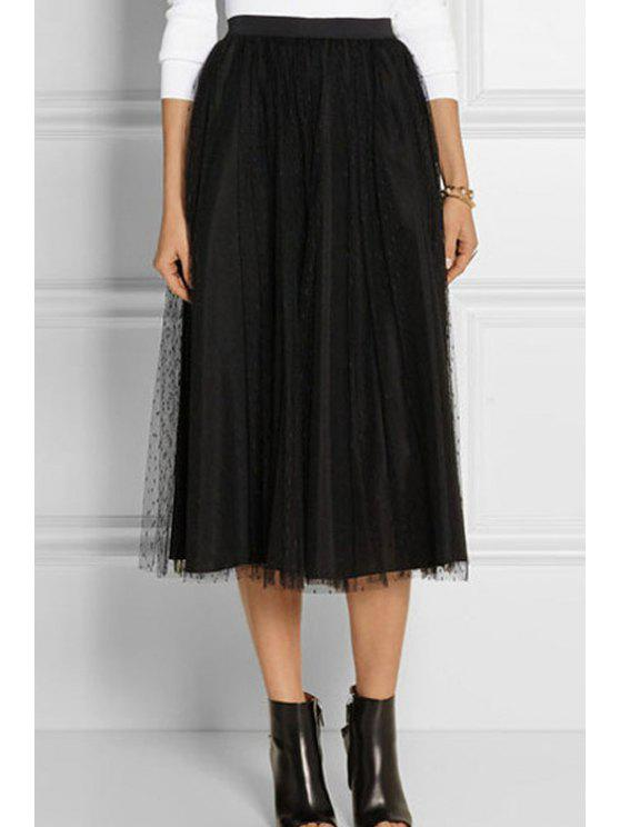 outfits Mesh Spliced High Waisted A Line Skirt - BLACK ONE SIZE(FIT SIZE XS TO M)
