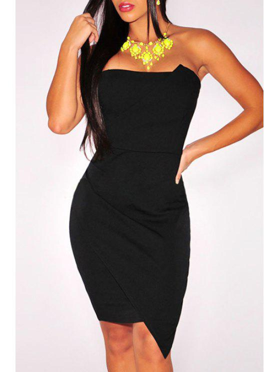 online Pure Color Strapless Bodycon Dress - BLACK M