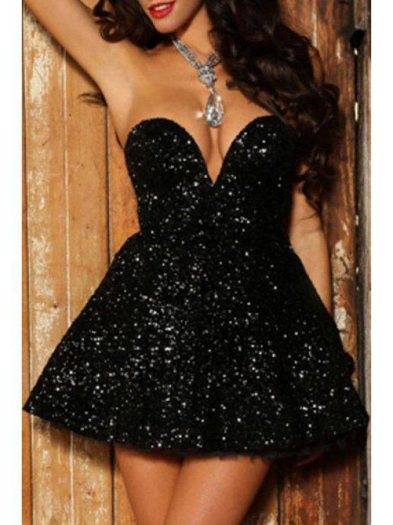 women Black A Line Sweetheart Neck Dress - BLACK L