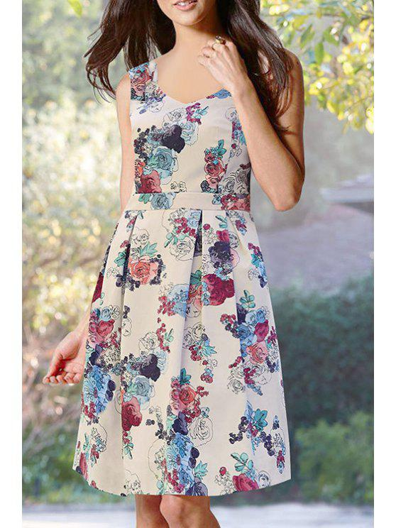 trendy Floral Print Fit and Flare Midi Dress - WHITE S
