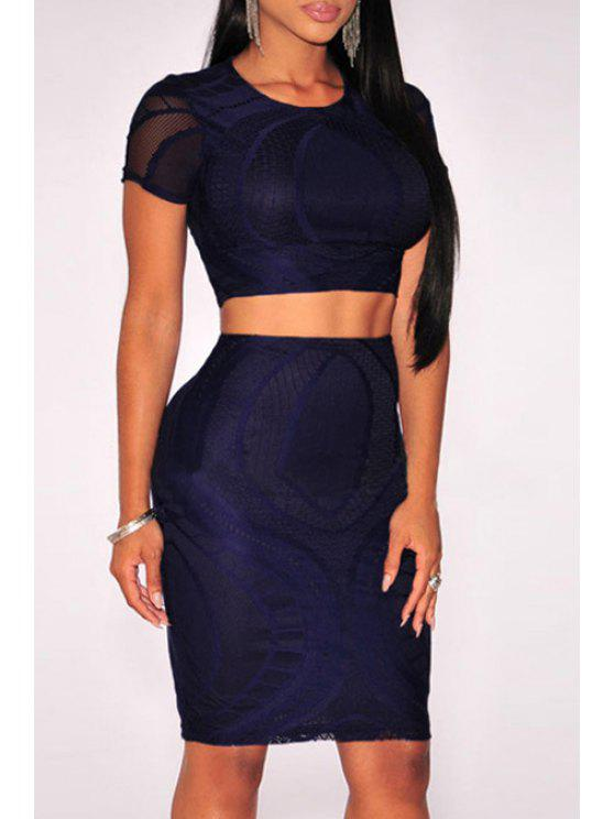 sale Solid Color Crop Top and Bodycon Skirt Suit - SAPPHIRE BLUE ONE SIZE(FIT SIZE XS TO M)