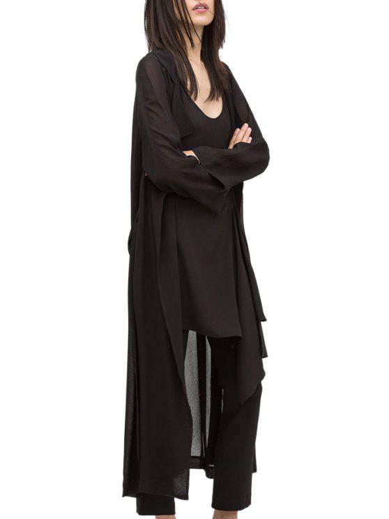 fancy Black Turn Down Collar Long Sleeve Trench - BLACK S