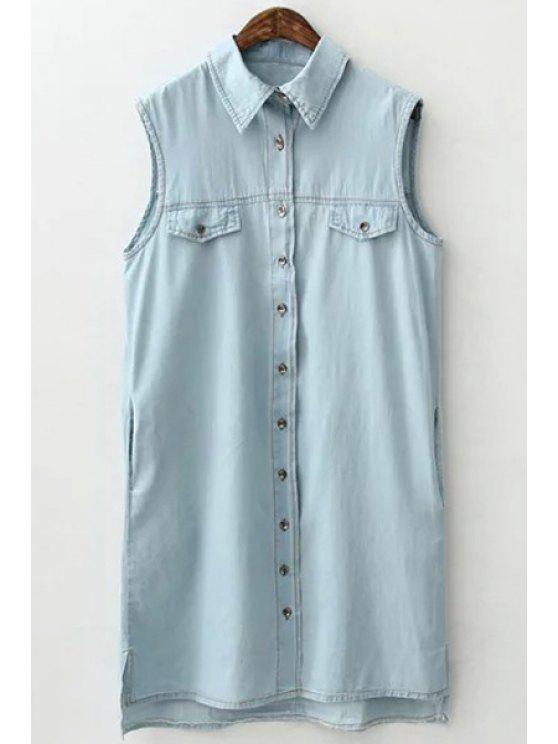 outfits Light Blue Shirt Neck Sleeveless Dress - LIGHT BLUE S