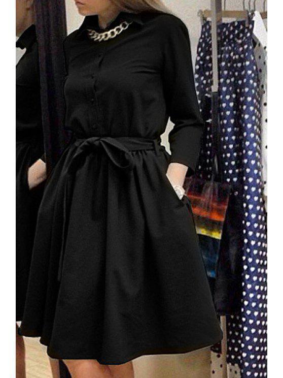 womens Turn-Down Collar Solid Color Belt Dress - BLACK S