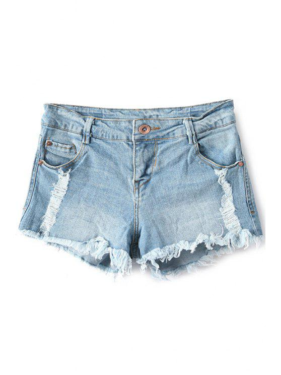 women's Broken Hole Low Waisted Denim Shorts - LIGHT BLUE 34