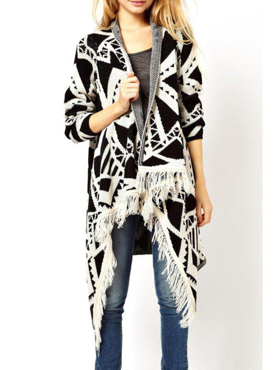best Turn Down Collar Geometric Pattern Cardigan - WHITE S