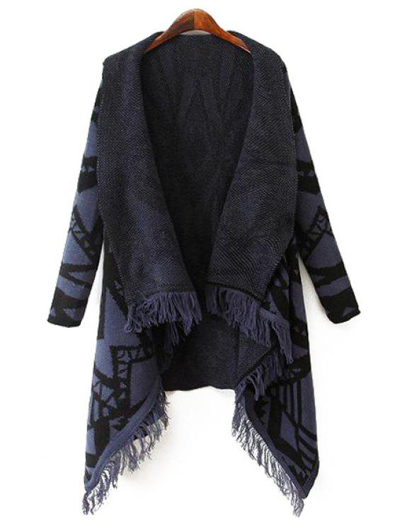outfits Turn Down Collar Geometric Pattern Cardigan - BLUE L