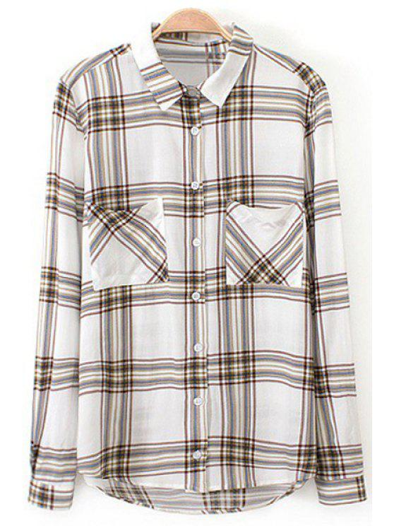 women Plaid Print Turn Down Collar Long Sleeve Shirt - COLORMIX M