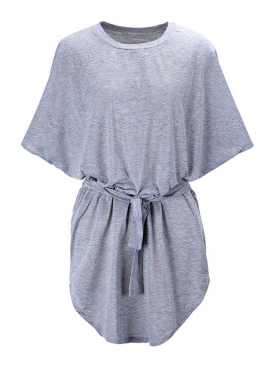 affordable Batwing Sleeve Solid Color Loose-Fitting Dress - GRAY M