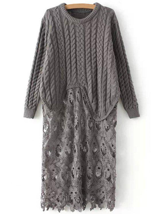 shop Lace Spliced Long Sleeve Jumper - GRAY ONE SIZE(FIT SIZE XS TO M)
