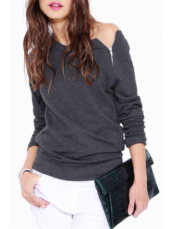 sale Boat Neck Zipper Embellished Long Sleeve Sweatshirt - GRAY L
