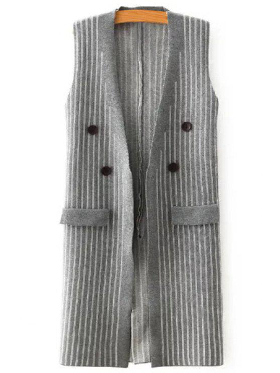 shops Stripes V Neck Knit Waistcoat - GRAY ONE SIZE(FIT SIZE XS TO M)