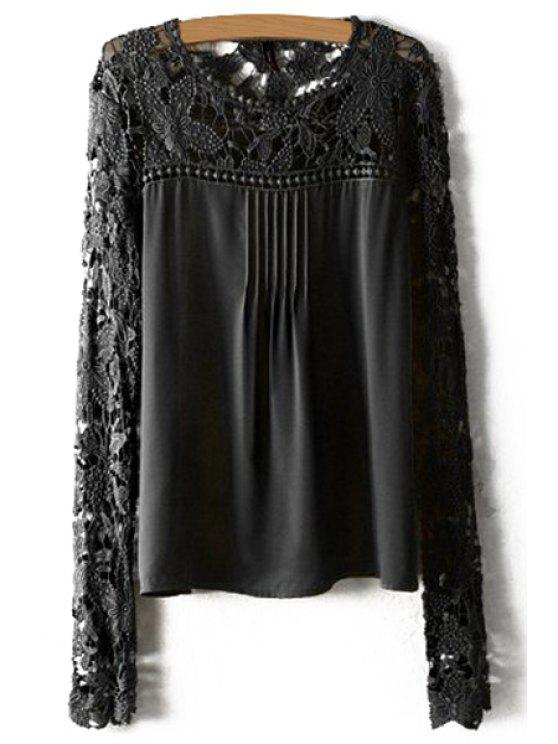 women's Crochet Flower Splicing Long Sleeves Blouse - BLACK M